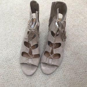 Suede wedge heel sandal